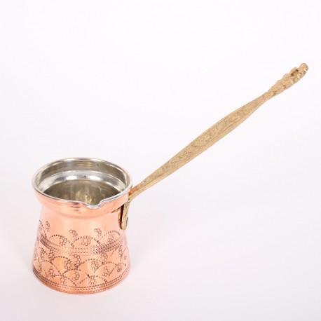 Медная турка с орнаментом и латунной ручкой 230 мл