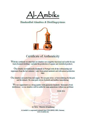 Сертификат соответствия на аламбик 20 л